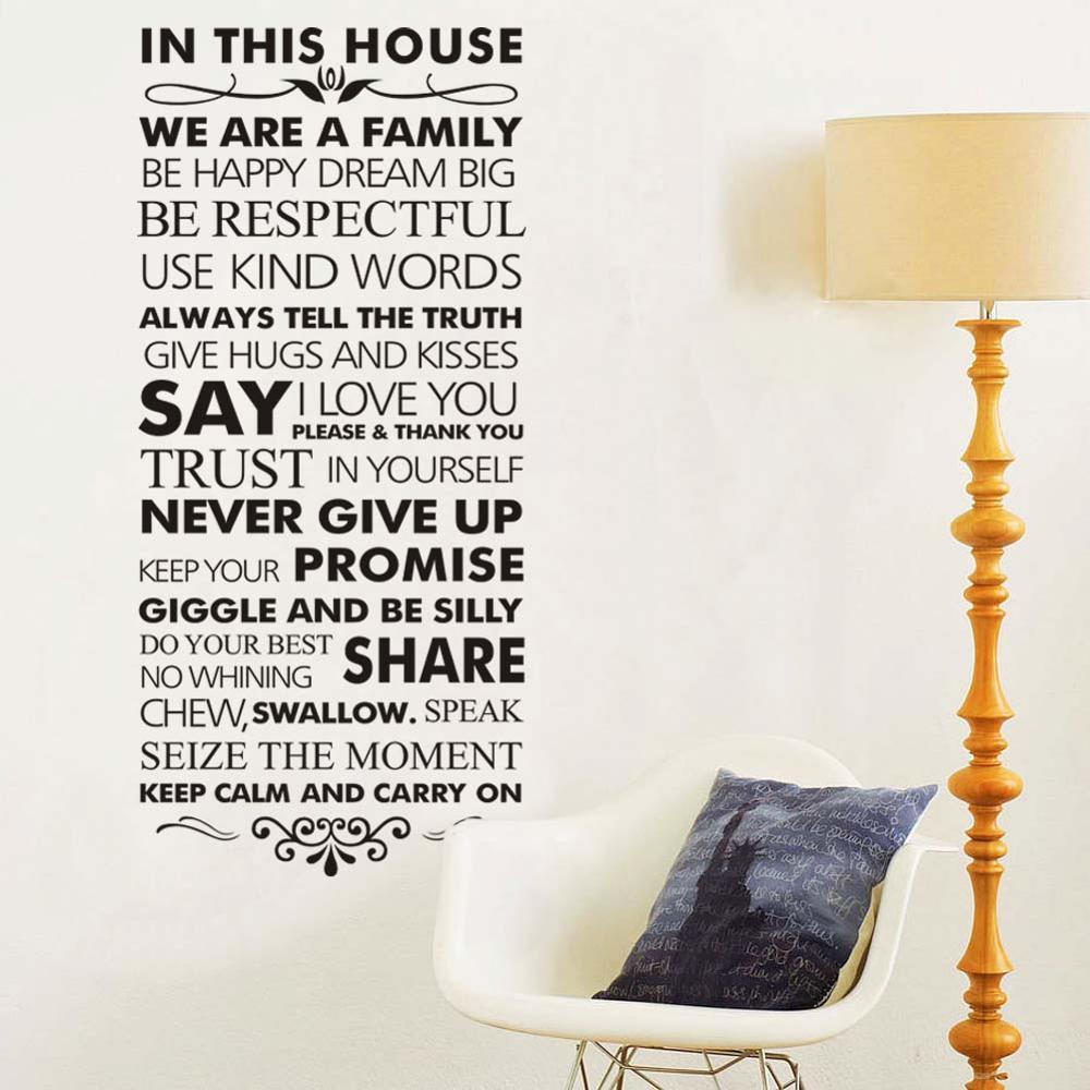 Dans cette maison famille règles décor à la maison citations sticker mural 8084 décoratif adesivo de parede vinyle mur autocollant mur Art