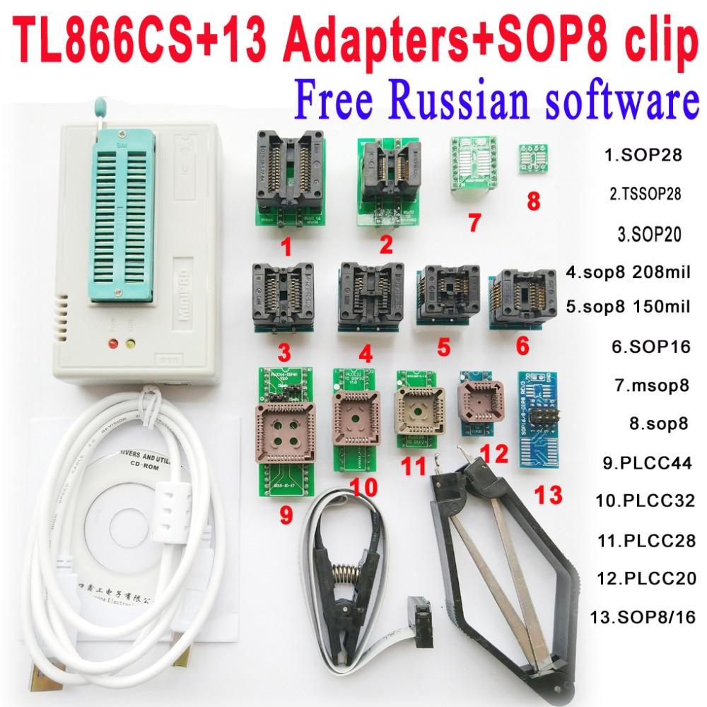 Free Russian software Original Minipro TL866CS programmer 13 adapter socket SOP8 Clip IC clamp scoket