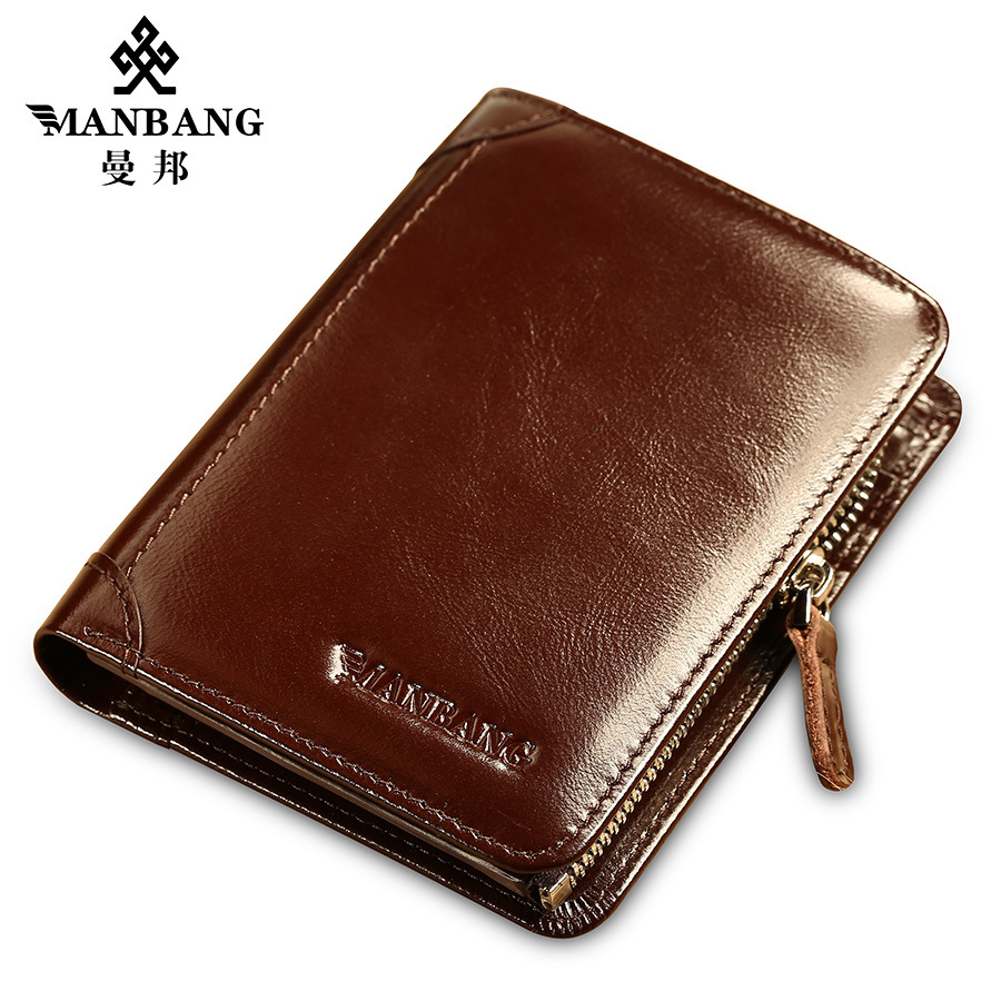 Manbang Classic Style Wallet Genuine Leather Men Wallets Short Male Purse Card Holder Wallet Men Fashion High Quality Gift 200