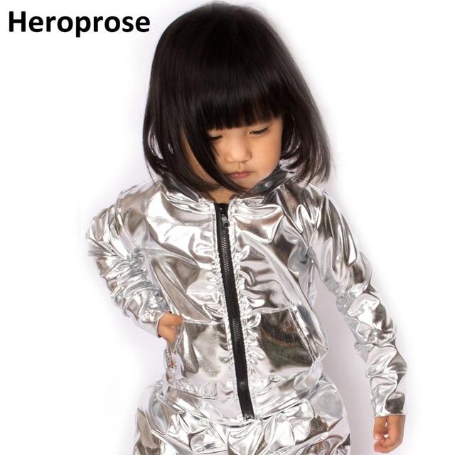 Spring Autumn Kids Silver bomber Jacket Stage Performance Wear paillette feminina casaco Hip Hop dance coat