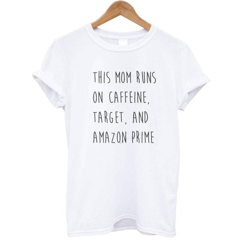 a383ae290 EnjoytheSpirit Women T Shirt This Mom Runs on Coffee Target and Amazon  Prime Mom Crewneck Fashion Tee Casual Top