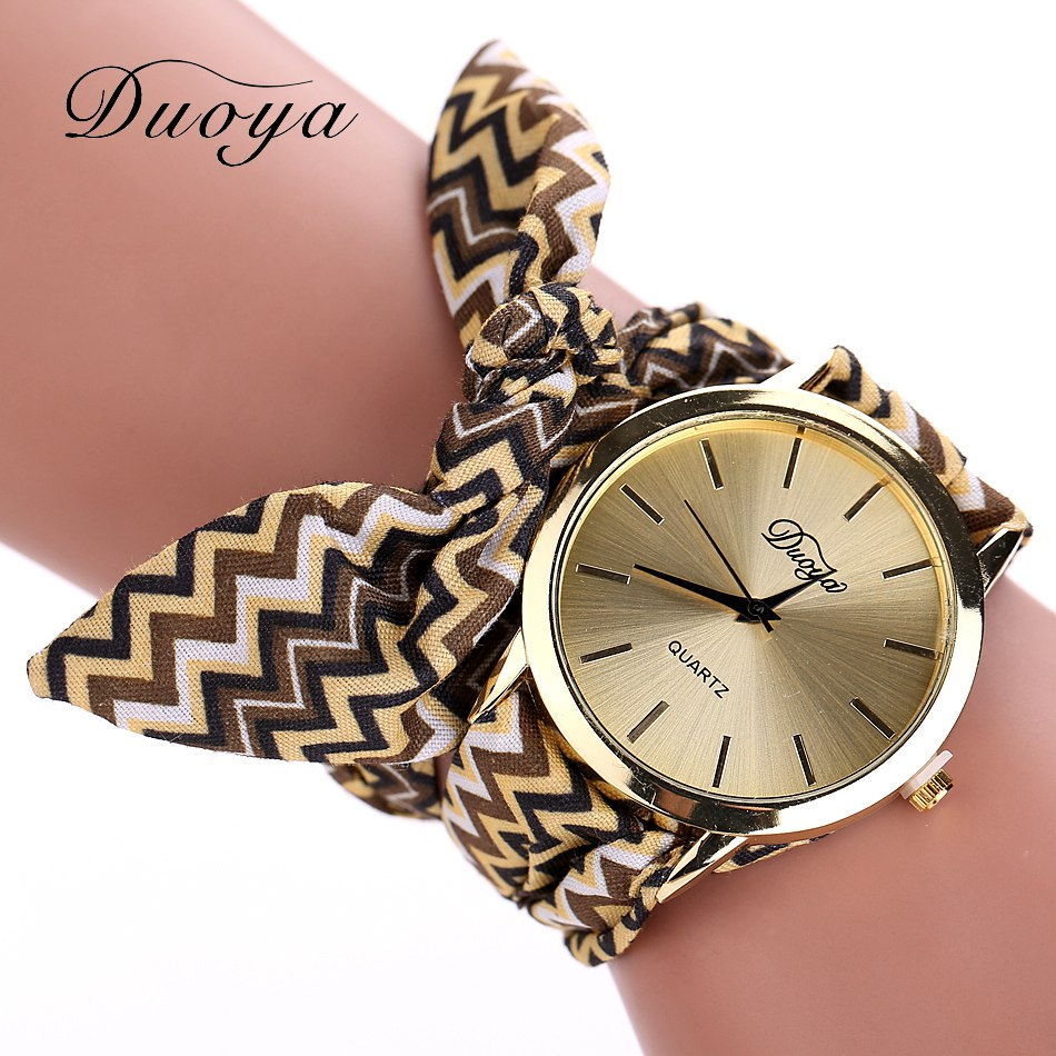 Duoya Brand Watch Women Gold Fashion Fabric Vintage Quartz Watches ...
