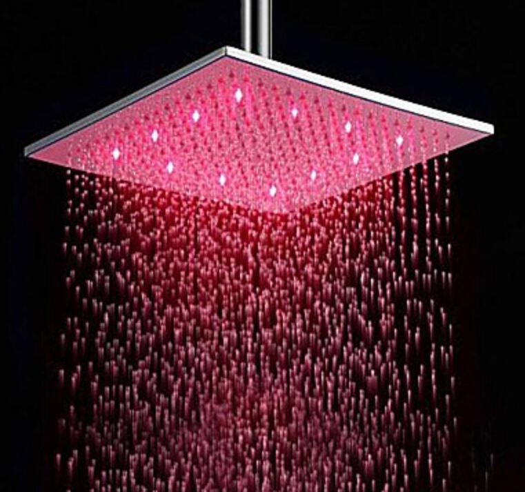 12 Stainless Steel Led Rain Shower Head Square Brushed Nickel Bathroom Showerhead In Heads From Home Improvement On Aliexpress Alibaba Group