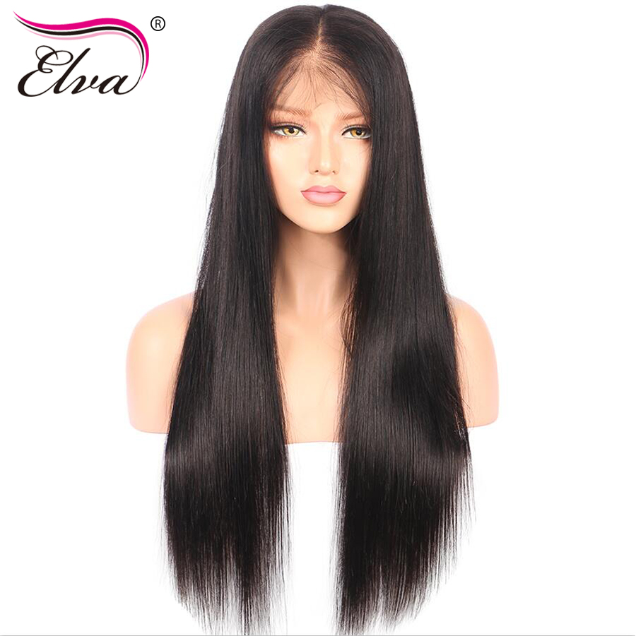 Elva Hair 180% Density 360 Lace Frontal Wigs Pre Plucked With Baby Hair 10″-22″ Straight Natural Color Brazilian Remy Hair Wigs