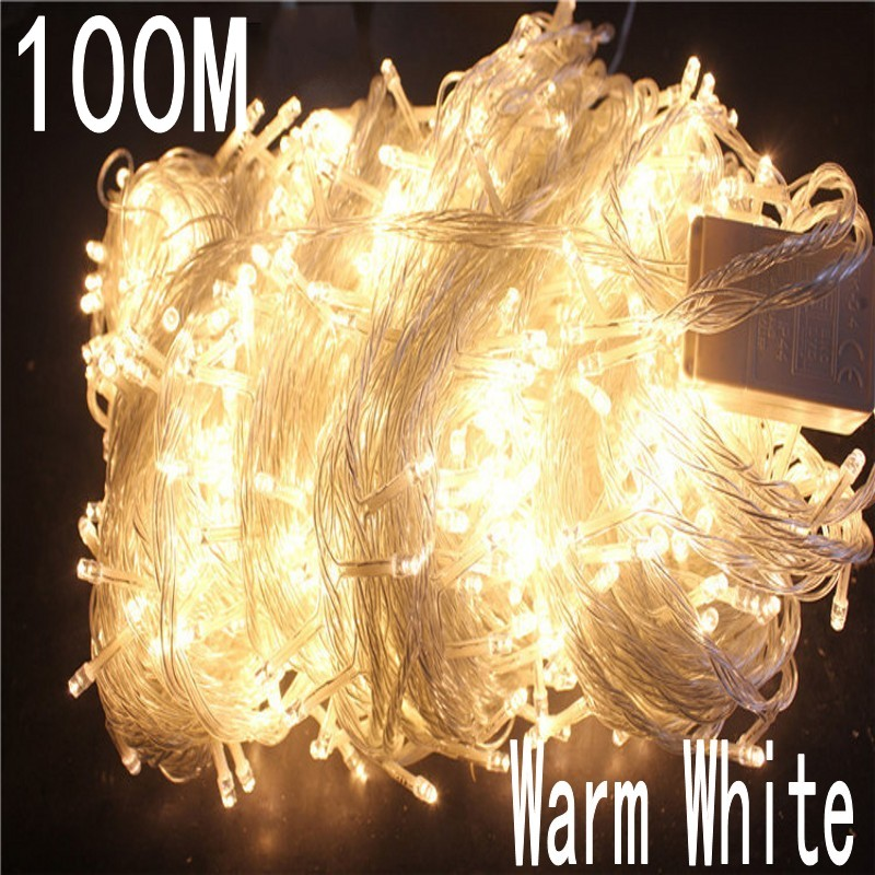 Warm White Colour 100 Meter 800 LED Christmas Light 8 Mode For Decorative Christmas Holiday Wedding Parties Indoor / Outdoor Use