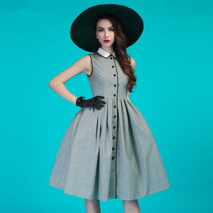 Vérifier Taille Vintage Col Gris La Jurken Midi Swing Vestids Show 4xl Audrey Hepburn Élégant Pan Femmes Chemise As Robes S Plus Peter 50 Dress afdzqqY
