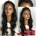 Longas Perucas Sintéticas glueless preto mulheres peruca fibra resistente ao calor dianteira do laço sintético perucas parte livre com o cabelo do bebê