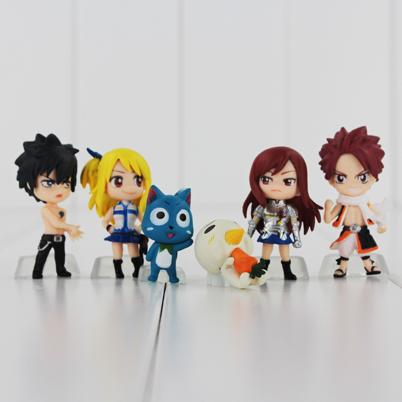 Fairy Tail - Chibi Team Natsu 6pcs/set Figure and Keychain Pendant