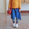 Spring Autumn Casual Children's Denim Skirt 100% Cotton All-Maches Asymmetrical Girls Skirts Teenager Wear Kids Child Clothing