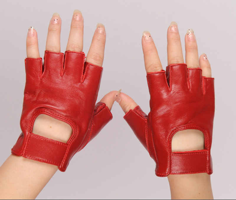 Women's Fashion Semi-finger Genuine Leather Cutout Gloves Female Sexy Fingerless Sheepskin Gloves Girls Sports Gloves R027