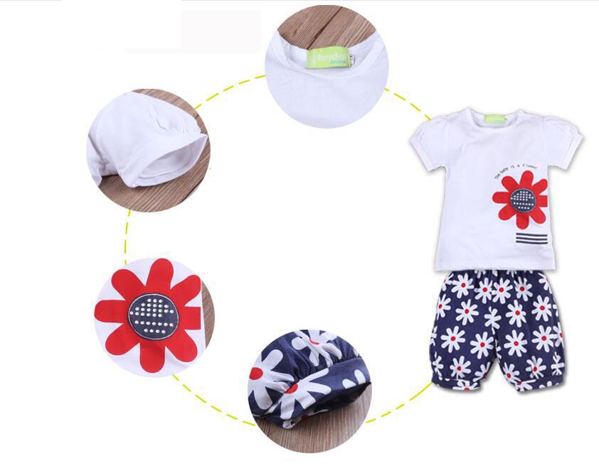 3pcs/Set Newborn Baby Clothes Baby Girl Dress Summer Kids Baby Clothing Sets Infant Baby Clothes T-Shirt+Pants+Headband 3