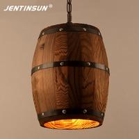 American Village Retro Antique Barrels Pendant Lights Creative Wooden LED Hanging Lamp For Restaurant Living Room