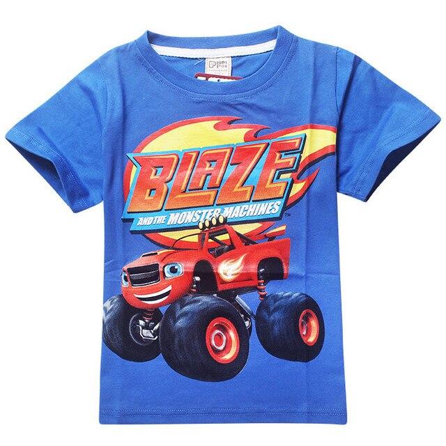 2016 Новый Детская одежда хлопка с коротким рукавом мальчиков футболки Blaze И Чудовище Мультфильм майка patterm дети мальчики Одежда