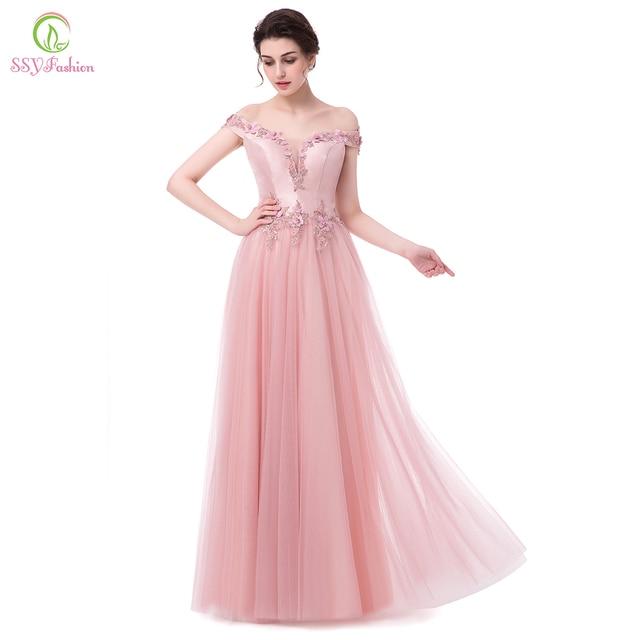 Ssyfashion nuevo vestido de noche de lujo satén rosa con tulle barco ...