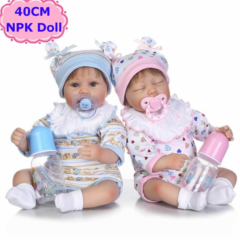 Kawaii 16NPK Baby Reborn Dolls Alive Soft Silicone Cloth Body Newborn Bebe Toys Kids Early Education Toys Girls Playmate Boneca 52cm 21inch npk brand kawaii reborn baby dolls made by 100