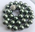2015 New 12mm Army Green South Shell Pearl Round Beads Necklace Magnet Clasp Grade Jewelry making Design Wholesale and retail