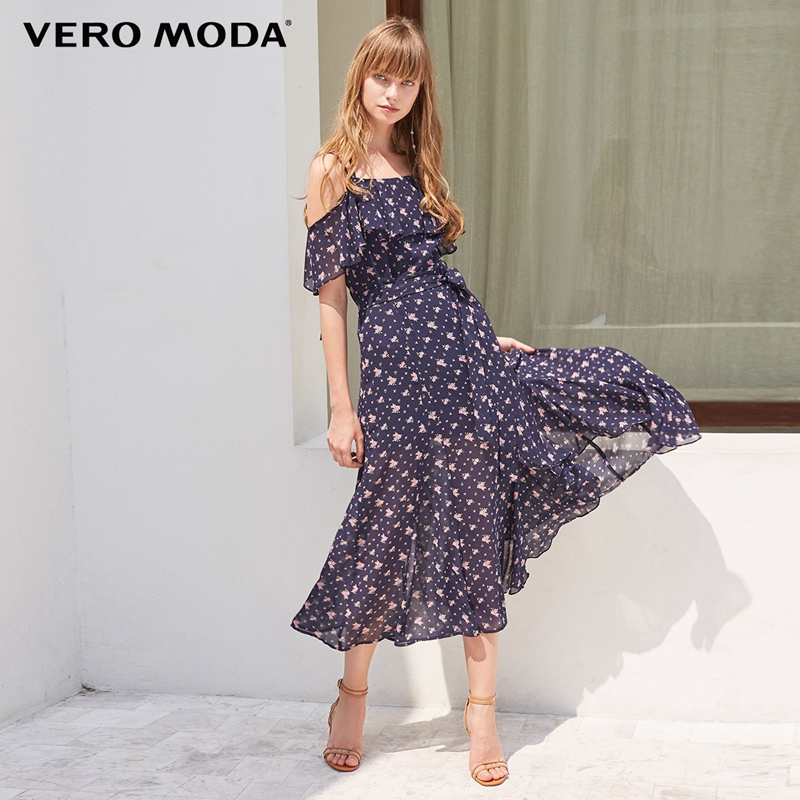 Vero Moda Ruffled Floral Slip Strap Dress Maxi/Long Beach Dress | 31837B508
