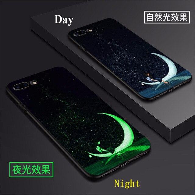 Luminous Case for iphone 7 8 Plus X  Light Pattern luminous Phone Housing Cover for iphone 6 s 6S Plus Glowing Capa Coque Fundas