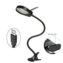 USB Plug LED Light Lamp Reading 3x 10x Large Lens Magnifying Glass Magnifier Clip-on Table Top Desk with Lamp-Black