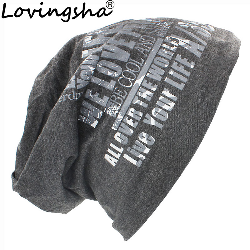 LOVINGSHA Fashion Letter New Hip Pop For Men Women velvet thickening double layer Warm   Skullies   &   Beanies   Autumn Winter Cap
