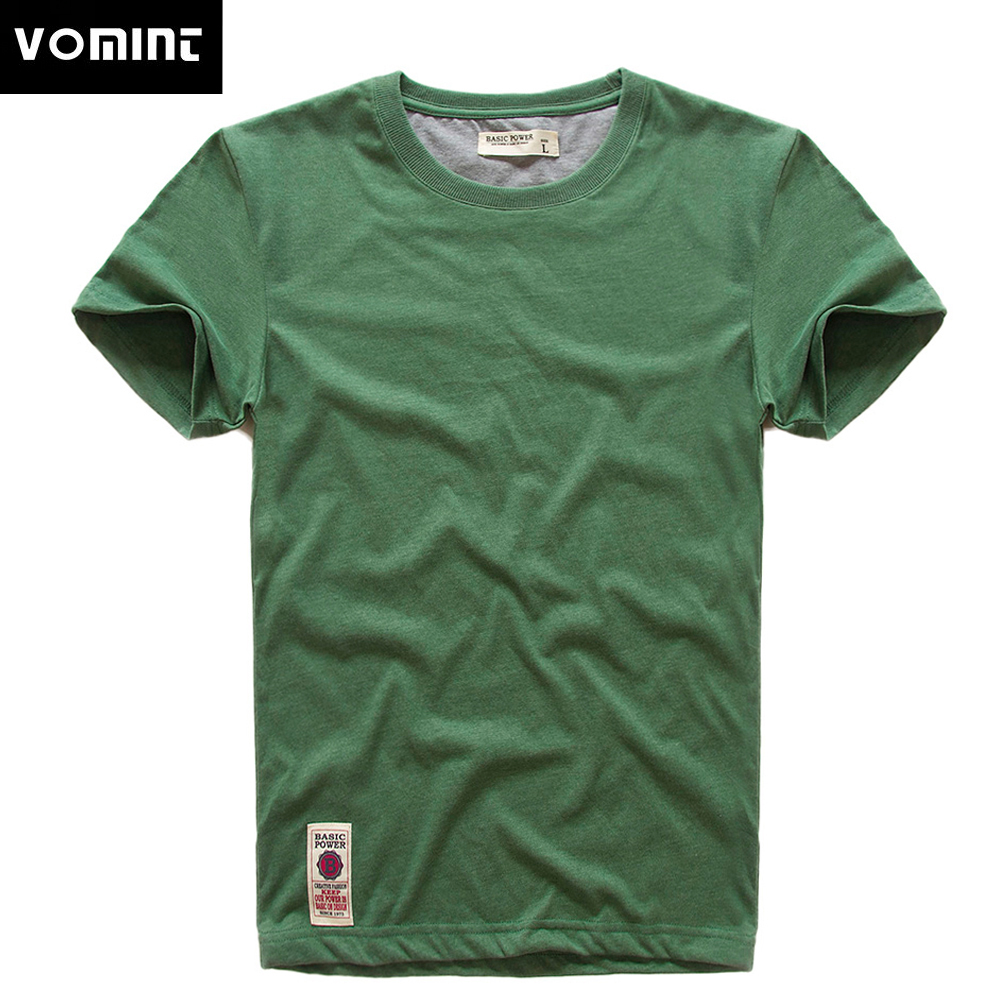 VOMINT New Print   T  -  Shirt   Mens Short Sleeve   T  -  shirt   Cotton Multi Pure Color Fancy Yarns   T     Shirt   male color grey green lblue