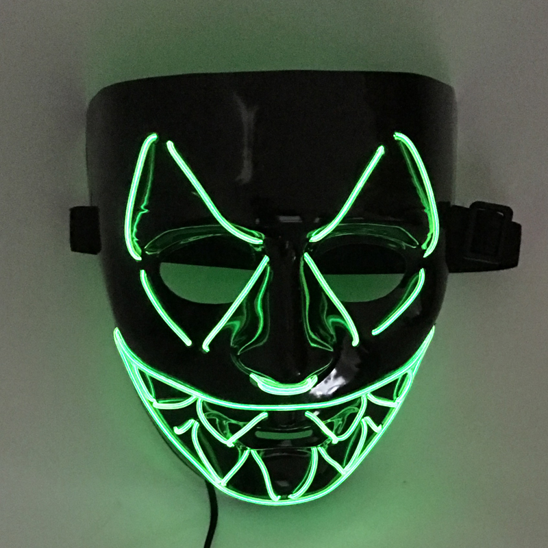 9 Colors New El Wire <font><b>Light</b></font> Up LED V Mask for Vendetta Anonymous Guy Fawkes Costume Cosplay Halloween Mask