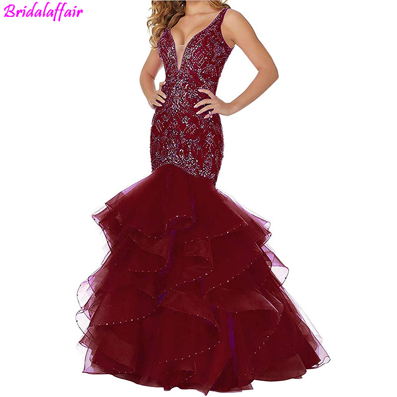 Women s Sexy Deep V Neck Mermaid Prom Dress Beaded Crystal Backless Long Party Evening Dresses