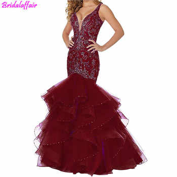 Women's Sexy Deep V Neck Mermaid Prom Dress Beaded Crystal Backless Long Party Evening Dresses robe de soiree femme pour mariage - DISCOUNT ITEM  25% OFF All Category