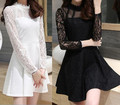 Teenage girls dress lace princess long sleeve black white 2015 autumn fall fashion 12 14 13 years old size 10