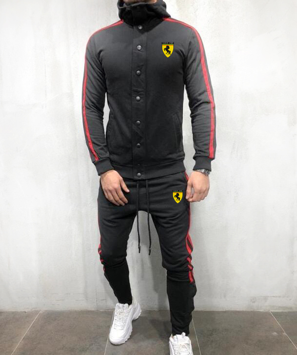 Men Gym Hoodies Button Jogger Casual Full TrackSuit Jacket Top Bottom Sport Track Suit Sets Pants Trousers