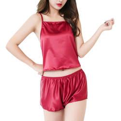 SIF/Лидер продаж! Женская Сексуальная атласная Женская пижама с кружевом бюстгальтер Обрезанные футболка и шорты Babydoll пижамы пижамный