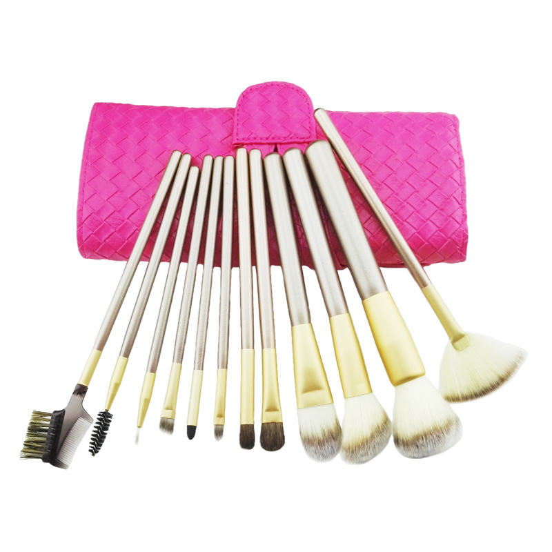 2017 Professional Soft 1Set / lot 12stk Makeupborstar Set Cosmetic Real Make Up Verktyg Eyeshadow Blush Set med PU Läderväska