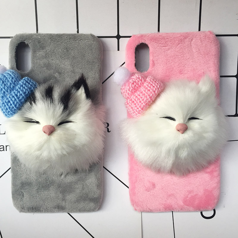 Tfshining Lovely DIY Cat Furry Warm <font><b>Case</b></font> For <font><b>iphone</b></font> 11 X 8 7 6 S Plus XR XS Max 11 Pro Max Plush Hair <font><b>Fur</b></font> Back Cover Coque Shell image