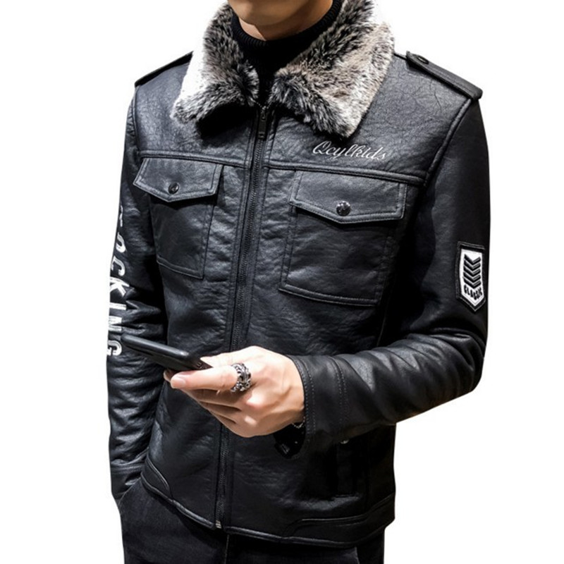 Jacket Original Coat Pilot Motorcycle Winter Genuine Casual for Men Fur-Collar Punk Warm