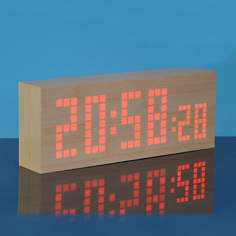 Snooze Digital LED Wooden Alarm Clock with Seconds Temperature Calendar Date Display Large Digits Home Decoration