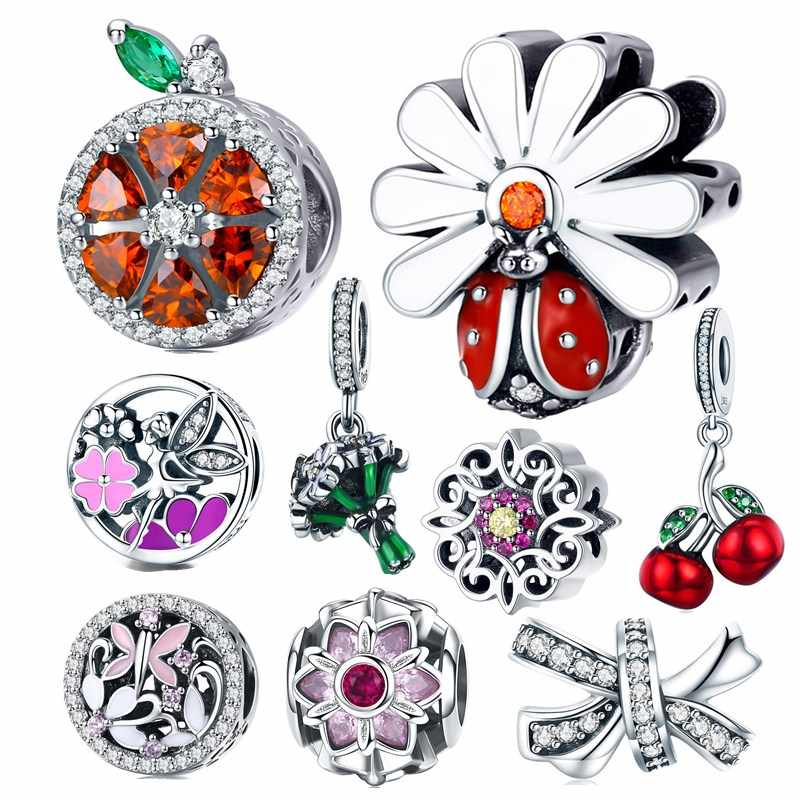 fit Pandora Bracelet Silver 925 Original CZ Pink Clover Blossom Elf Butterfly Beetle Beads S925 Orange Bow Charms DIY Jewelry