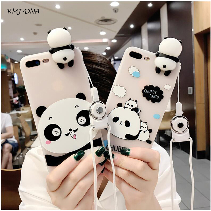 3D Cute Panda Cat Phone Case For iphone 6 6s 6 s Plus Cover Strap TPU Transparent Silicone Case For iphone 6 6 S 7 Phone cover iPhone