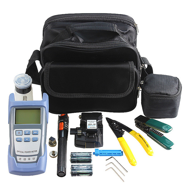 Fiber Optic Splicer Kit with High Precision Fiber Cleaver and Optical Power Meter 10Mw Visual Fault Locator Wire stripper
