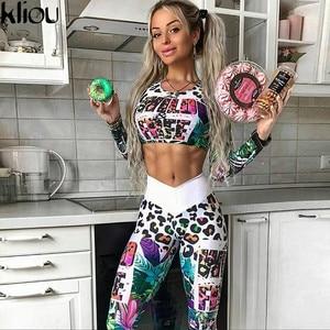 Image 4 - Kliou legging Fitness pour femme, ensemble deux pièces à manches longues, haut de court, avec lettres imprimées numériques, 2018