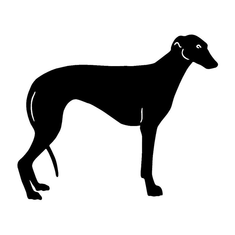 HotMeiNi 15.5*12.7CM Greyhound Classic Pet Dog Car Stickers Car Styling Funny Animal Decorative Decals Black/Silver