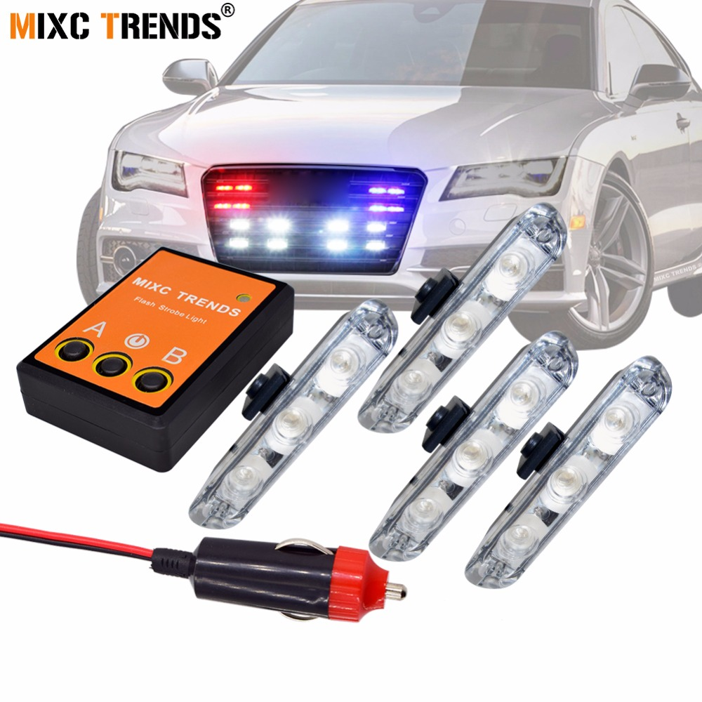Mzorange 4*3 Led Strobe Light Police Emergency Grill Warning Light 12v Car Motorcycle Fireman Ambulance Flasher Led Flashlight Automobiles & Motorcycles Car Lights