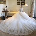 2016 Three Quarter Sleeve V Neck  Plus Size vestidos de novia Cathedral Train White Ivory Wedding Dresses Bridal Gown