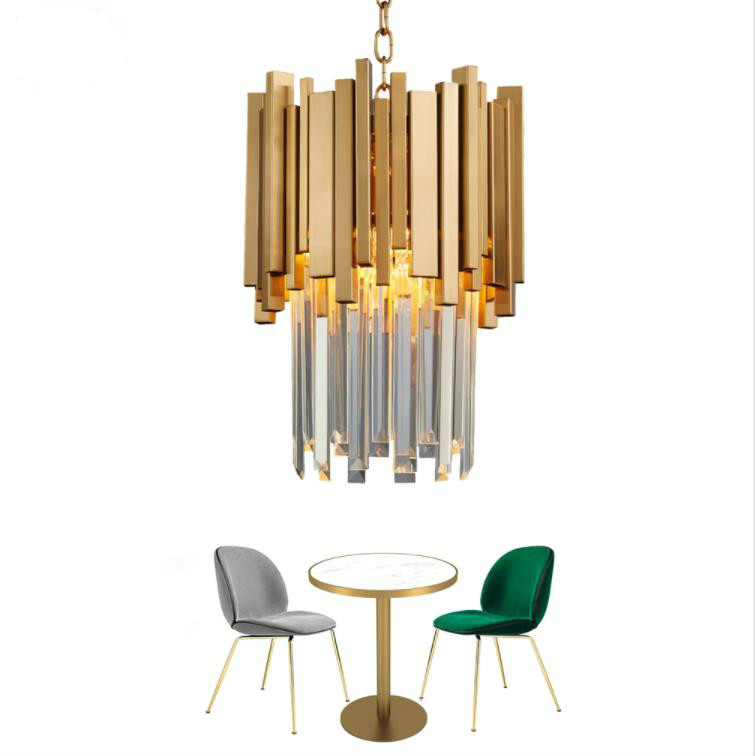 Gold Chandelier Lighting Single Light Dining Room LED Crystal Lamp Modern Kitchen Island Pendant Chain Cristal LustreGold Chandelier Lighting Single Light Dining Room LED Crystal Lamp Modern Kitchen Island Pendant Chain Cristal Lustre