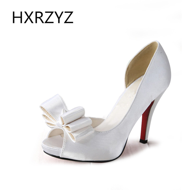 ФОТО women shoes European and American women satin bow Waterproof platform fish head stiletto white wedding shoes and sandals pumps