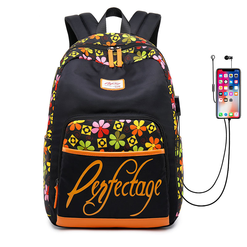 2019 nouveau mode voyage femmes sac à dos avec Port de chargement USB en Nylon Double épaule cartable s'adapte pour ordinateur portable cahier sacs d'école
