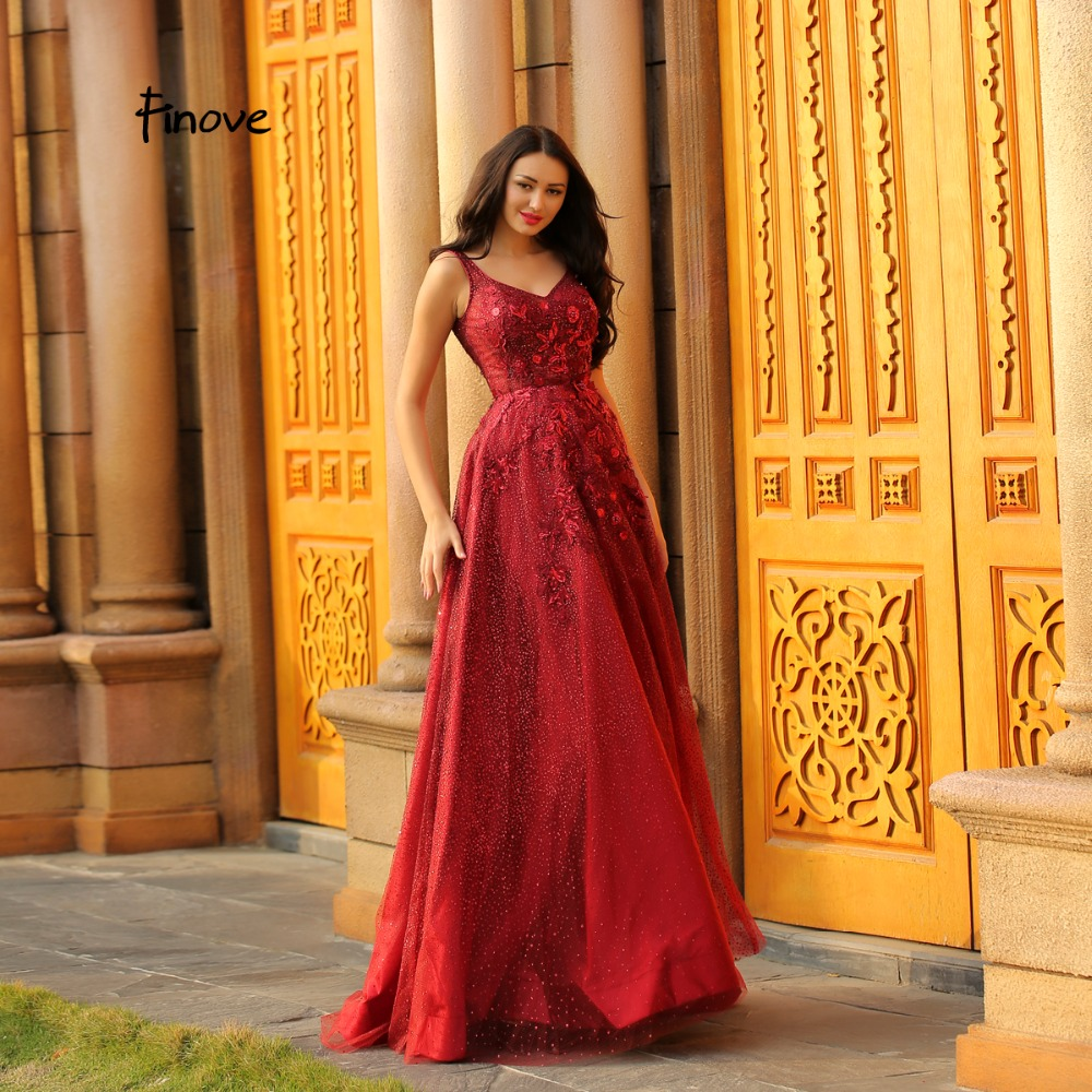 Finove Evening Dress 2019 Wine Red Sexy V neck Backless Prom Dresses Appliques Tulle Beading Long