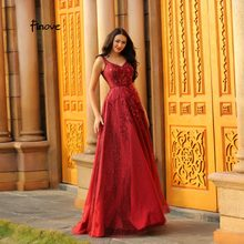 bafcc9990885a Finove Evening Dress 2019 Wine Red Sexy V-neck Backless Prom Dresses  Appliques Tulle Beading Long Ball Gown For Woman Plus Size