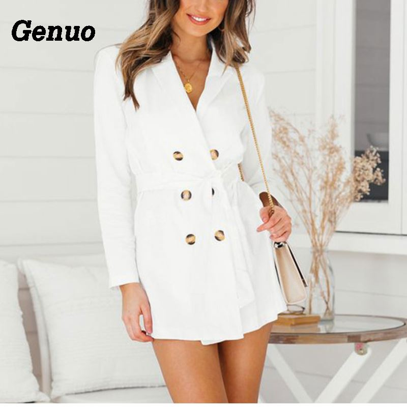 Genuo Autumn Casual   Trench   Coat Double-breasted Women WhiteThin Windbreaker Overcoat Lady Elegant Bandage Belt   Trench   Outwear