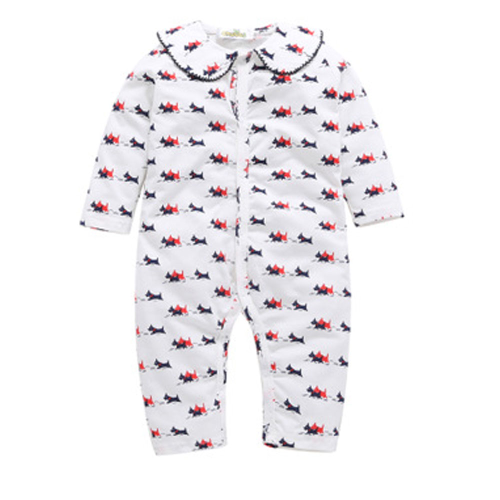 Newborn Infant  Clothes Baby Boy Romper Long Sleeve puppy Print baby girl clothes Jumpsuit Pajamas Baby Clothing 80cm-100cm newborn infant baby boy girl clothing cute hooded clothes romper long sleeve striped jumpsuit baby boys outfit