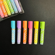 6pcs/Pack Simple Fresh Dots Striped Mini Highlighter Paper Marking Pen Drawing Shool Office Supply Kids Student Stationery